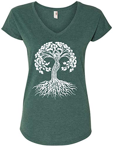 Yoga Clothing For You Ladies Celtic Tree of Life V-Neck Tee (Large, Heather Dark Green)