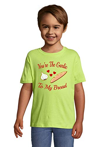 Iprints You are Garlic to My Bread Couples Graphic Apple Green Colorful Kids T-Shirt 6 Year Old