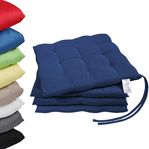 NatureMark 4er Pack Stuhlkissen mit Bändern Gr. 40x40 cm Sitzkissen gefüllt, Navy blau