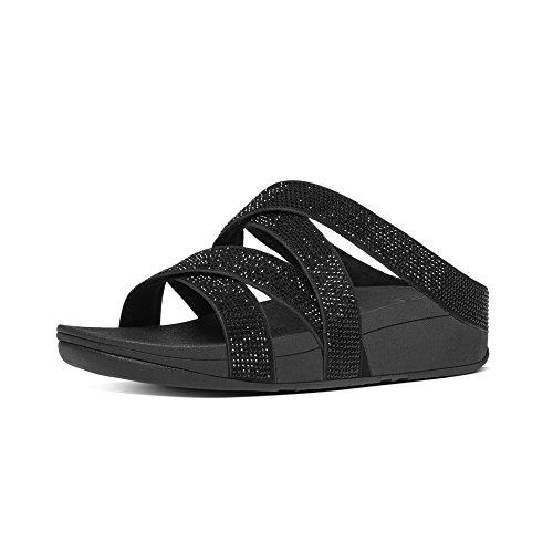 Fitflop Damen Slinky Rokkit Criss-Cross Slide Offene Sandalen mit Keilabsatz, Schwarz (All Black 90), 41 EU