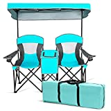 Safstar Double Camping Chair w/Shade Canopy, 2-Person Folding Camp and Beach Chair with Mini Table Beverage Cup Holder Carrying Bag for Garden Patio Pool Beach, Turquoise