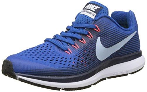 Nike Nike Mädchen Zoom Pegasus 34 Gs Laufschuhe, Blue (Blue Jay/lt Armory Blue/Obsidian/solar Red), 35.5 EU