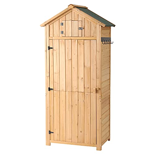 small garden storage sheds B BAIJIAWEI Garden Storage Shed - Outdoor Wooden Tool Storage Cabinet - Arrow Tool Shed Organizer Fir Wood Lockers for Home, Lawn, Yard
