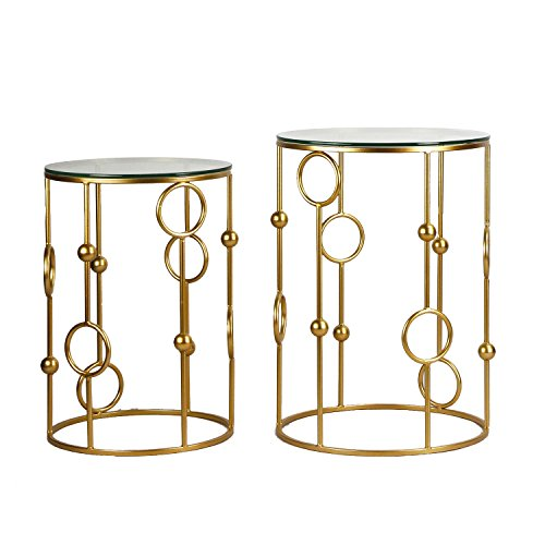 Adeco Neting Accent, Decrorative Glass Top Side, End, Set of 2 Round Nesting Tables, Gold