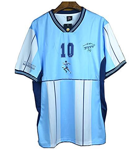 Klassisches Fußballhelden-Trikot, 2001 Maradona Nr. 10, Gedenk-Kurzarm-T-Shirt, argentinisches Heimtrikot-Trikot-Shirt+Shorts-S