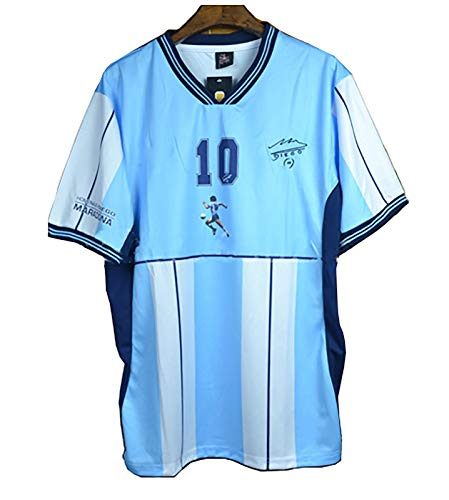 Klassisches Fußballhelden-Trikot, 2001 Maradona Nr. 10, Gedenk-Kurzarm-T-Shirt, argentinisches Heimtrikot-Trikot-Shirt-L