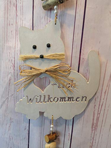 Mocca-Factory Türdeko/Hänger mit Katze, Türdekoration mit Katzenmotiv und Herzlich Willkommen.Türhänger der modernen Art. (Braun)