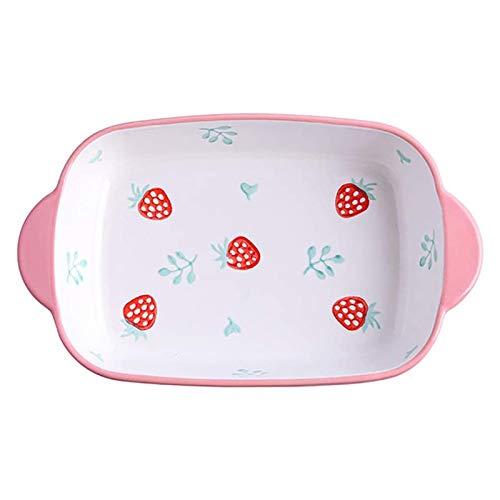 LYYJIAJU Piccola Vassoio da Forno Bakeware Cooking Hors con Manici 22.5x13.8x4cm Forno alla Fragola Rettangolare Bakeware (Color : Pink, Size : 22.5x13.8x4cm)