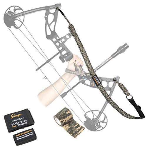 SUNYA Paracord Bow Sling with Magnetic Connection System, Camouflage Tape. Hands Free Carrying Archery Shoulder Sling for Compound Bow Hunting, Fit Any Bow Release & Bow Sight (Army Camo)