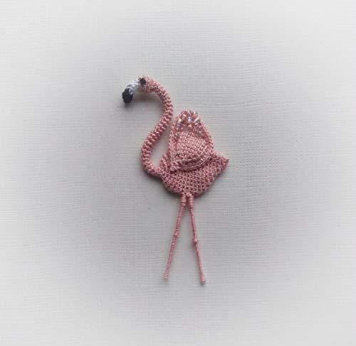broche boho flamenco pàjaro rosa de ganchillo