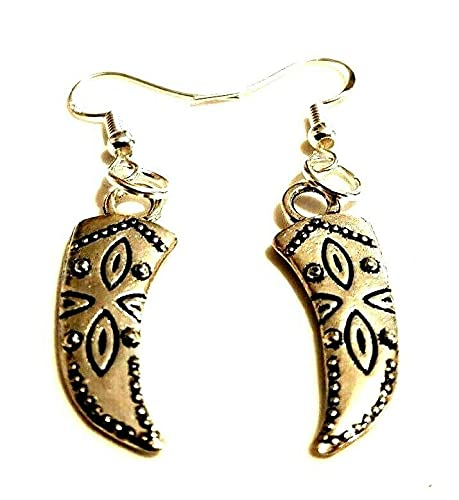 Orecchini in argento tibetano con zanna su ganci in argento Sterling, gioielli nativi americani, orecchini a corno con elefante, tricheco, zanna