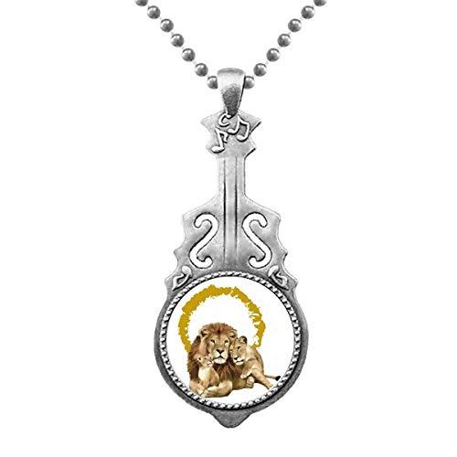 Feline Lions Ferocious Anillo colgante joyas música guitarra Torque Star Moon