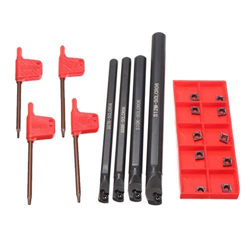 perfk 7/8/10/12mm 4 STÜCKE Schaftdrehmaschine Bohrstange Drehen Werkzeughalter Drehmeißel mit Wendeplatte und CCMT0602 Insert Drehwerkzeug