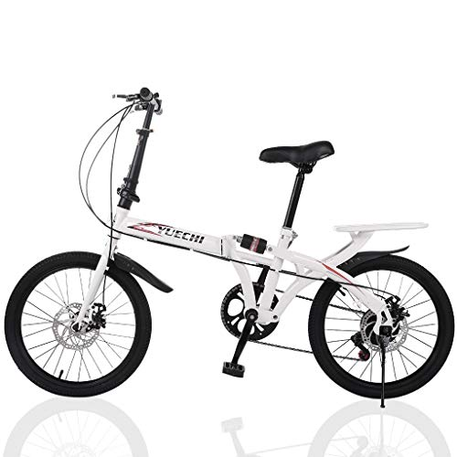 Dartphew Student 20 in 7 Speed ​​City Folding Bike, Front and Rear Shock Absorption Double Disc Brake Variable Speed Foldable Bicycle, Compact Suspension Bike Bicycle Urban Commuters