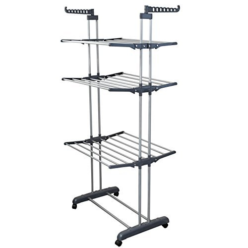 BONBON 3 Tier Clothes Drying Rack Folding Laundry Dryer Hanger Compact Storage Steel Indoor Outdoor Gray/White