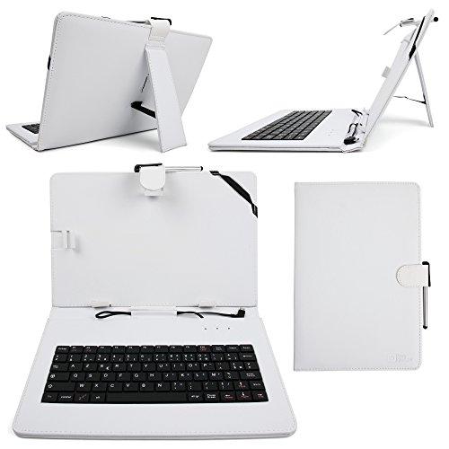 DURAGADGET, Französische Tastaturbelegung (AZERTY), Leder, Weiß, inklusive Micro USB Tastatur für Toshiba Encore 2 WT10-A-102 (2015) Toshiba Excite undRelease AT10, A-104, inklusive Reinigungstuch & Stylus-Eingabestift