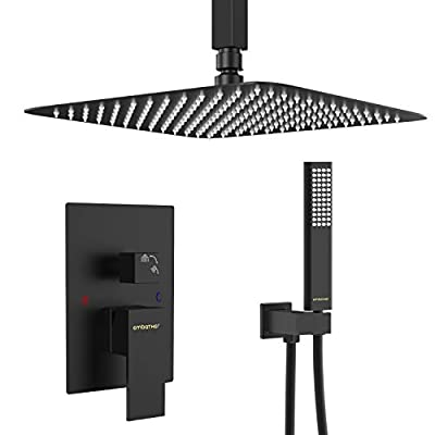 EMBATHER Black Shower System- 12 Inches Ceiling Shower Faucet Set with Square Rain Shower Head and Handheld-Shower Combo Set for Bathroom-Easy Installation- Eco-Friendly?Valve included?