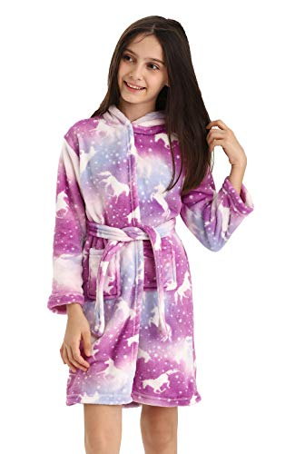 DRESHOW Weiches Einhorn Kapuzen Bademantel Nachtwäsche - Einhorn Geschenke für Mädchen
