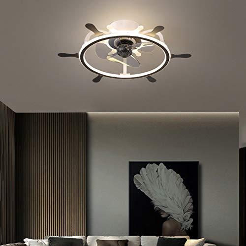 SYXBB-Lampe Diseño de la Forma de timón Ajuste de 3 velocidades Luz de Techo Ligera led Moderna Ventilador de Techo con iluminación Ultra-silenciosa Ventilador Invisible Fan Luz de Techo,Negro