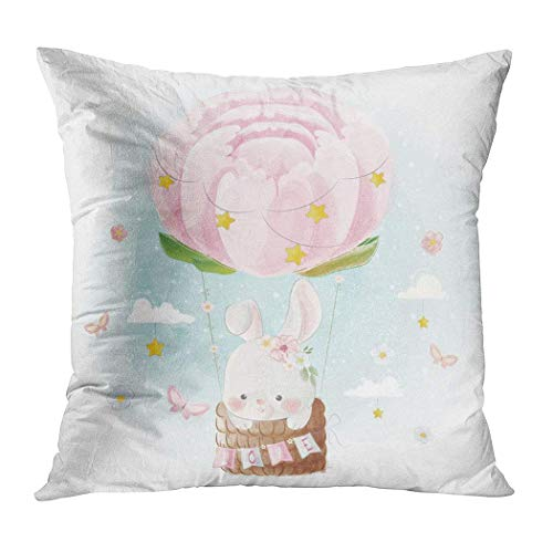 Pamela Hill Throw Pillow Decor Square 20 X 20 Inch Globos de Colores Cute Bunny Flying Peonies Balloon Funda de cojín Decorativa súper Suave