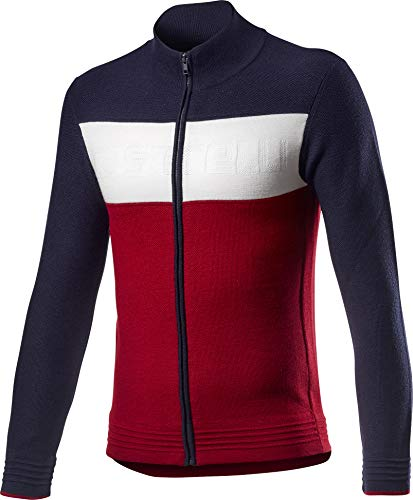 Castelli Armando Sweater, Felpa Uomo, Savile Blue/Red/Off White, L