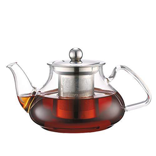 TOYO HOFU Klarglas Teekanne mit Infuser Hitzebeständig Gasherdplatte Sicherheit Entfernbar Edelstahlfilter 800ml/28oz