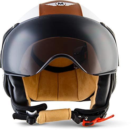 """57-58cm ARMOR /· AV-84 /""""Vintage Creme/"""" Gelb /· Jet-Helm /· Mofa Bobber Chopper Roller Scooter-Helm Motorrad-Helm /· ECE certified /· Visier /· Click-n-Secure/™ Clip /· Tragetasche /· M"""