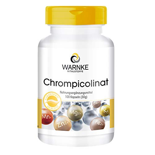 Chrompicolinat - mit 60µg Chrom pro Kapsel - essentielles Spurenelement - vegan - Chromium Picolinate - 100 Kapseln