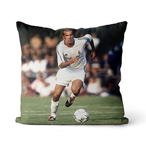 Cojín para silla Zinedine Zidane Football Superstar Athlet Best Coach Print, decoración interior, algodón y lino cuadrado OR2086 cojín 35 x 35 cm