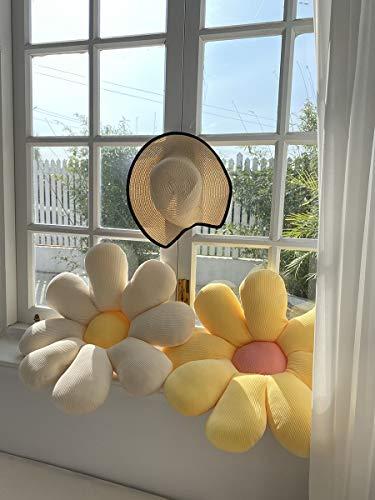 BARMI Flower Pillow Decorative Throw Pillows Flower Shaped Cute Pillow Flower Plush Pillow Decorative Pillows for Teen Girls Cute Throw Pillows Yellow