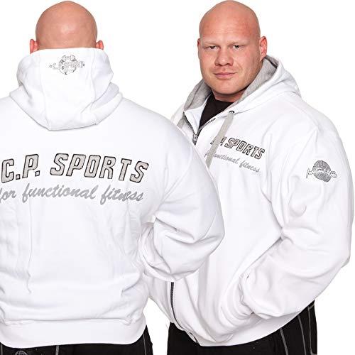 C.P. Sports Veste à capuche – Couleur : Blanc/bodybuilding Pull à capuche – Sweater – Pull à capuche, Femme Homme Mixte, Blanc
