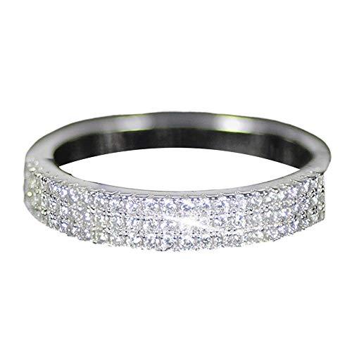 WFZ17 Anillos de boda con incrustaciones de diamantes de imitación multicapa para mujeres y niñas, plata EE.UU. 7