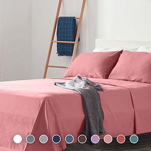 SLEEP ZONE Bed Sheet Sets Temperature Regulation Soft Wrinkle Free Fade Resistant Easy Sheets 4 PC, Pink, Queen