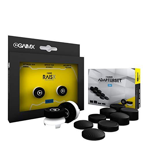 GAIMX RAISX 8-in-1 Adapterset – Premium Zielhilfe für PS4 Thumbstickverlängerung mit wechelbarem Grip – Aim-Verbesserung für Shooter bis zu 50%