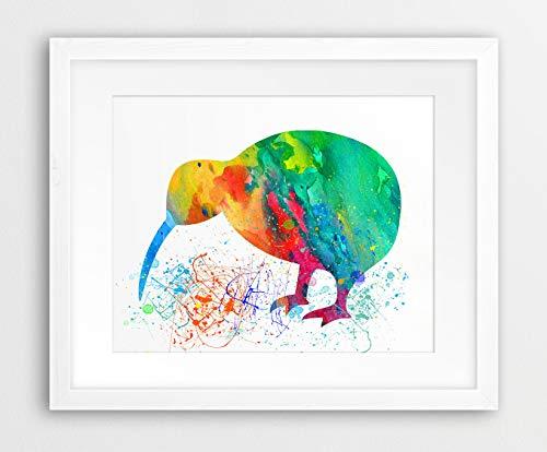 Kiwi Vogel Aquarel Print Kiwi Vogel Kleurrijke Kunst Groen Cyaan Roze Oranje Kwekerij Decor Kwekerij Muur Kunst Kids Kamer Prints Printable Art