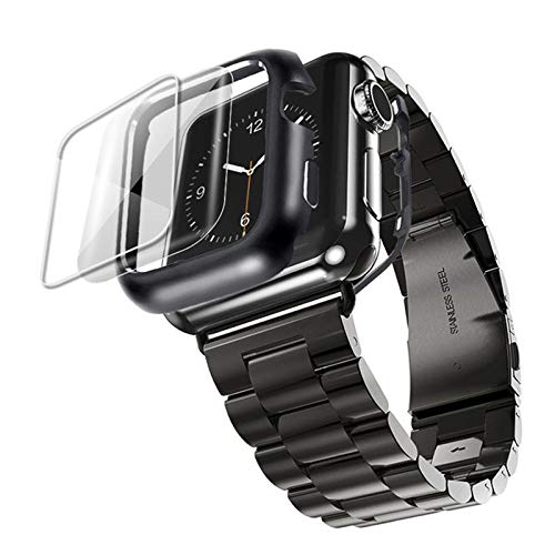 DYH&PW Correa de acero inoxidable compatible con Apple Watch Band 44 mm/40 mm, compatible con iWatch Band 42 mm/38 mm, compatible con Apple Watch Series 3, 4, 5, 6 SE, negro, 38 mm
