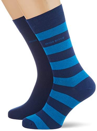BOSS Herren 2P BlockStripeCol CC Socken, Open Blue491, 39-42