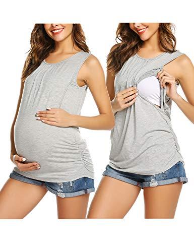Unibelle Stilltops Umstands T Shirt, Umstandstop Mit Stillfunktion Umstandsshirt lustig Mit Kurzarm Nursing Schwangerschaft Top Umstandsmode