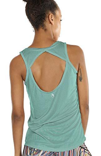 icyzone Damen Yoga Sport Tank Top - Rückenfrei Fitness Shirt Oberteil ärmellos Training Tops (M, Agate Green