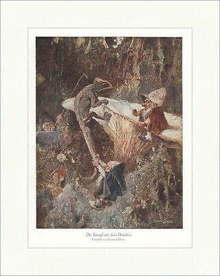 Kunstdruck Der Kampf mit dem Drachen Heinrich Schlitt Zwerge Wald Pilz coloriert ED 0306