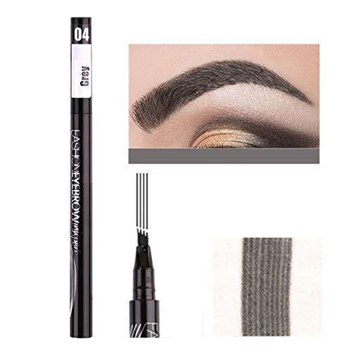 Stool Lasting Eyebrow Tattoo Pen Wasserdichter Profi 4 Punkte Liquid Eye Brow Pencil 3D Microblading Augenbrauenstift Zum Markieren Füllung Umriss,Grau