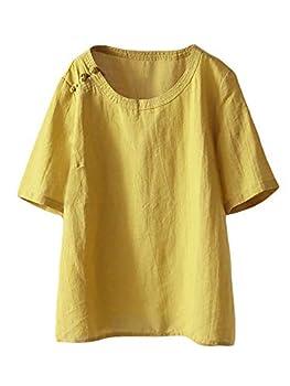 Mordenmiss Women s Cotton Linen Shirts Summer Short Sleeve Tunic Tops Yellow L