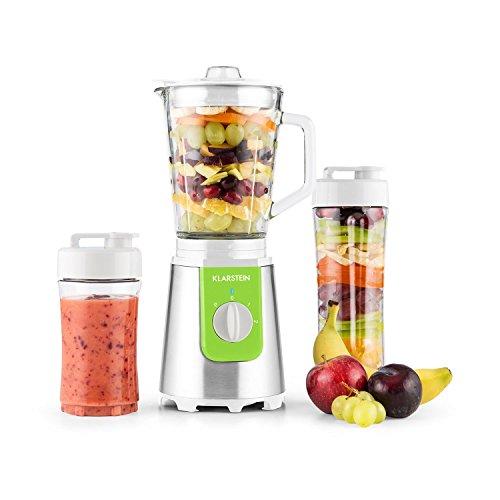 Klarstein - Shiva, Standmixer, Küchenmixer, Smoothiemaker, Blender, 350 Watt, Edelstahlklingen, 0,8 Liter Glaskrug (geschmacksneutral), Puls Funktion, Verschlussdeckel, grün