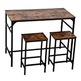"""YITAHOME Bar Table, Industrial 47.2"""" Bar Height Dining Table with 2 Chairs, Minimalist Bistro Table Set for Kitchen Living Room Cafe Pub, Sturdy Steel Structure, Easy Assembly, Rustic Brown"""