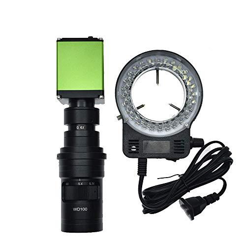 /G Cámara de microscopio de Video Digital HD 1080P 1/2 Pulgada Lupa óptica HDMI Reparación de Placa Base de teléfono Detección de Metales y Lente de Montaje en C 200X y lámpara de 56 LED