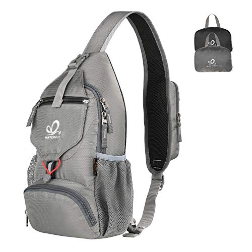WATERFLY Packable Small Crossbody Sling Backpack Shoulder Chest Bag Daypack for Hiking Traveling (Grey)