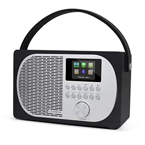 LEMEGA M2P kompaktes Internetradio mit Bluetooth,DAB+/UKW Digitalradio,Bluetooth,WLAN,Kopfhörerausgang,Wecker,wechselbarer Akku tragbar oder netzbetrieben,Farbdisplay, App-Steuerung - Schwarze Eiche