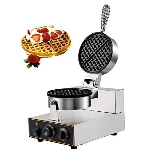VBENLEM Commercial Round Waffle Maker Nonstick 1100W Stainless Steel 110V Temperature and Time Control, Suitable for Restaurant Bakeries Snack Bar Family, Non-rotated