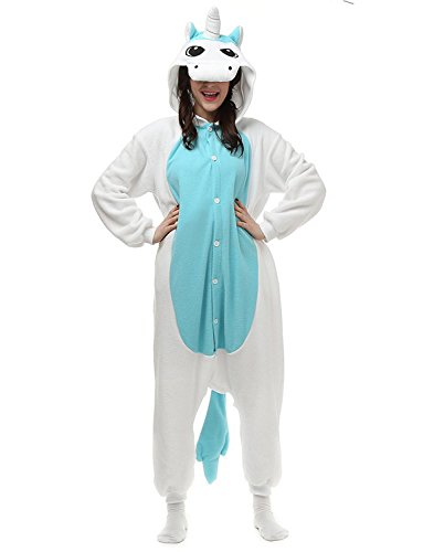 Pyjamas Tier Kostüm Schlafanzug Jumpsuit Erwachsene Unisex Cosplay Halloween Karneval (Medium, Blau)