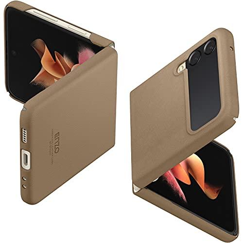 Spigen ENZO Hülle Kompatibel mit Samsung Galaxy Z Flip 3 5G Lederhülle -Classic Brown